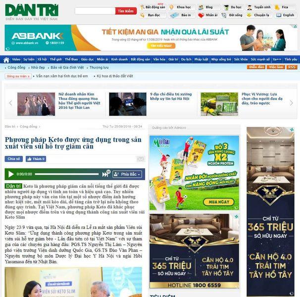 Báo dân trí đưa tin về viên sủi Keto Slim
