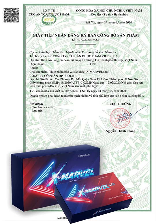 Chứng nhận an toàn của viên ngậm X-Marvel